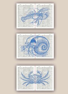 Lobster Crab Ermit Crab diptych Print in blue over by PrintLand, $48.00