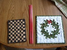 Mini Christmas wreath, 2 1/2 inch squares.