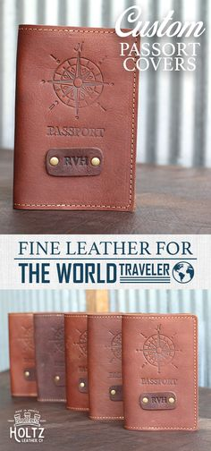 $35.00 - Personalize this with Initials - The Expedition Personalized Leather Passport Cover Holder is made right here in our shop with the finest of Full Grain American leathers. We hand-pick our leather hides from a local tannery for a rustic look and feel. This is a gift that will be used and loved for a lifetime and it's perfect for the jet-setter in your life!