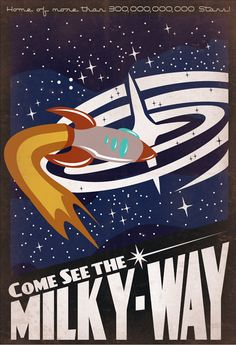Retro SciFi MilkyWay Travel Poster