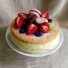 Needle felted strawberry blueberry macaron by FunFeltByWinnie