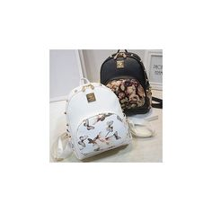 Printed Studded Faux Leather Backpack (£29) ❤ liked on Polyvore featuring bags, backpacks, accessories, white faux leather backpack, faux leather backpack, vegan leather bags, vegan leather backpack and fake leather backpack