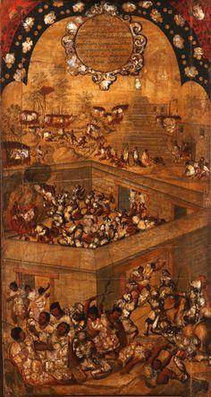 La conquista de Mexico (coleccion de tablas) Autor: Miguel Gonzalez  Fecha: SXVII (1696-1715) Tecnica: Tinta,estuco, nacar, Barniz organico. Objeto: Pintura Estilo: barroco Americano Medidas: 100 x 52 Cm
