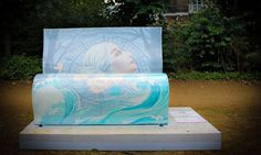 Book bench dedicated to Mrs. Dalloway by Virginia Woolf, in Gordon Square Park, as seen by a reader.  Photograph: NunNicer/GuardianWitness