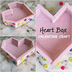 DIY Heart Box Valentine Craft for Kids - Simple Crafts Valentine Crafts For Kids, Valentine Box, Easy Crafts For Kids, Simple Crafts, Toddler Crafts, Holiday Crafts, Popsicle Stick Crafts For Kids, Craft Stick Crafts, Fun Crafts