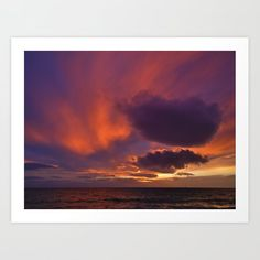 Winter sunset above sea Art Print by kostaspavlis Winter Sunset, Sea Art, From The Ground Up, Buy Frames, All Over The World, Printing Process, Gallery Wall, Tapestry, Art Prints