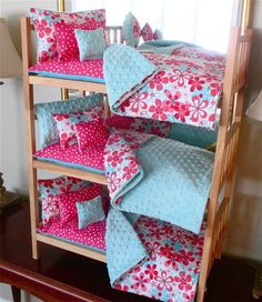 "Doll Bunk Bed American Made for 18"" Doll Like American Girl With 15PC Bedding"