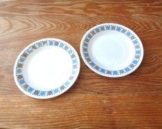 Two Vintage J & J Pyrex ware plates Chelsea pattern white pattern blue and black geometric design JAJ Pyrex side bread plates England 1960s by IrishBarnVintage on Etsy