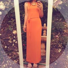 Tangerine Maxi Dress Beautiful tangerine maxi dress from Banana Republic. Never worn and in perfect condition. 100% rayon, lining 100% polyester. Banana Republic Dresses Maxi