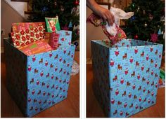 Use a cardboard box wrapped in gift paper as your garbage receptable on Christmas morning. | 38 Clever Christmas Hacks That Will Make Your Life Easier