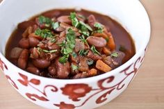 Kidney Beans Stewed in Red Wine with Tomatoes and Herbs