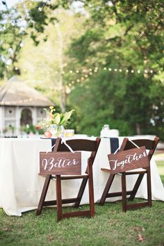 """""""Better Together"""" #wedding chair signs Photography: Paperlily Photography   Read More: http://www.stylemepretty.com/2014/01/20/oak-hill-the-martha-berry-museum-wedding/"""