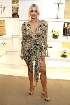 f266e80d253 Rita Ora is styled in a Dundas Dress and Giuseppe Zanotti Sandals Two Piece  Dress