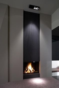 Modern tall vertical fireplace design