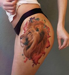Gorgeous lion tattoo by Anna Yershova