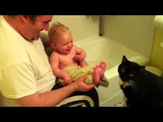 After a nice evening bath, the kitty wants to help by licking clean the baby's toes. And the baby finds it hysterically funny (as do Dad and Mom, off-camera). Crazy Cat Lady, Crazy Cats, Cuddles And Snuggles, Laughing Baby, What Makes You Laugh, Cats And Cucumbers, Hysterically Funny, Baby Finger, Cat Boarding