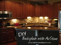 Check out this DIY stone back splash from AirStone! This stuff is amazing and priced at only Fifty Dollars for 8 sq. ft!
