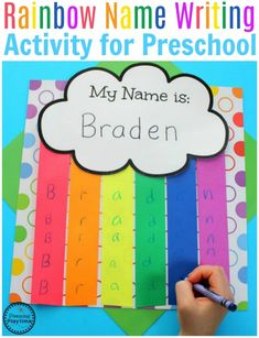 Are you looking for fun Rainbow Activities for your kids? These educational activities and crafts are perfect for Preschool Themes or use extra practice at home. Name Activities Preschool, Name Writing Activities, Name Writing Practice, Preschool Weather, Rainbow Activities, Preschool Literacy, Preschool Lesson Plans, Preschool Activities, Educational Activities