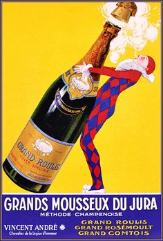 Champagne 1920 Grand Mousseux Vintage Poster Vintage Art Print Retro Style French Advertising Free US Post Low EU post by CharmCityPosters on Etsy