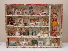 Shabby Silverware Holder Shadow Box With Vintage Dollhouse Pieces