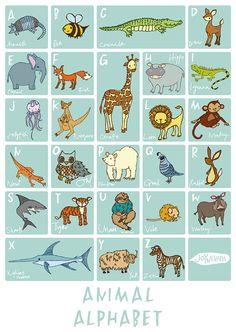 Animal Alphabet Poster JoyNevada Littleones A3 or A4 by JoyNevada, $25.00
