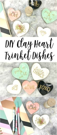 oven baked clay | heart trinket dishes | clay dishes