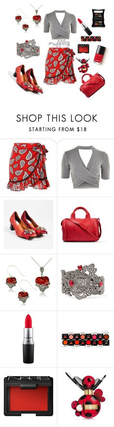 """""""Red And Gray Ruffles!!"""" by siriusfunbysheila1954 ❤ liked on Polyvore featuring Dodo Bar Or, Topshop, Lanvin, Alexander Wang, Lord & Taylor, Oscar de la Renta, MAC Cosmetics, Mehron, NARS Cosmetics and Marc Jacobs"""