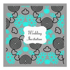 Modern Teal  Black  Grey Hearts Flowers Pattern Personalized Wedding Invitations Announcements