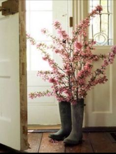 Spring Decor....old boots and flowering branches
