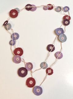 Plum shades Turkish style crochet necklace by GabyCrochetCrafts