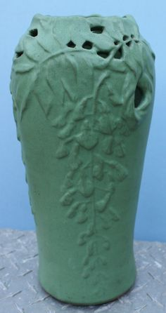"""Frederick Rhead Arequipa Pottery matte green reticulated wisteria 12"""" vase, California Arts & Crafts. Bottom is separating from vase wall. Sold $1,175 eBay 5/5/2015"""