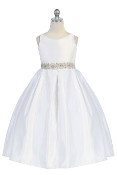 White Satin pearl Beaded communion Girl Dress - CD-587-WH CD-587-WH $64.95 on www.GirlsDressLine.Com