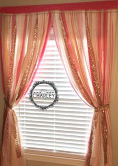 Love this!!!! Gold Sequin with Pink, Ivory & White - ribbon garland curtain - rod pocket Bling Sparkle - $64.00