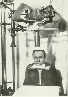 An apparatus in use for dental roentgenography (x-ray photography), c.1906. From:  The American journal of roentgenology, radium therapy and nuclear medicine (1906).