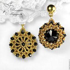 Купить Jet - вечерние серьги с кристаллами Сваровски, вечернее украшение - золотой, серьги, вечерние серьги