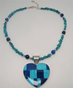 STERLING SILVER 925 JAY KING MINE FINDS TURQUOISE LAPIS NECKLACE HEART PENDANT #JAYKING #StrandString
