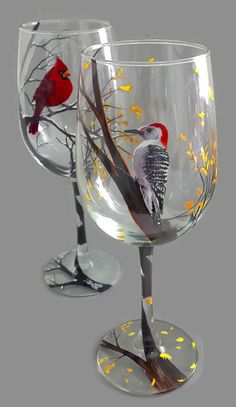 Wine Glass Hand Painted Woodpecker Wildlife Bird Art Tree Stemware Collectible Nature Gift Woodland Cabin Barware Rustic Autumn Fall Branch  Make a new friend and share a glass of wine with this beautiful red headed woodpecker. This meticulously hand painted wine glass is bound to be the main conversation piece at your dinner table and displays wonderfully when not in use. These glasses make incredibly unique gifts for housewarmings, birthdays, weddings and more as they are all one of a kind…
