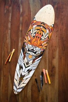 Hand-painted longboard by Andreas Preis // Tiger // www. - Hand-painted longboard by Andreas Preis // Tiger // www. Painted Skateboard, Skateboard Deck Art, Skateboard Design, Electric Skateboard, Board Skate, Skate Art, Longboard Design, Longboard Decks, Surfboard Painting
