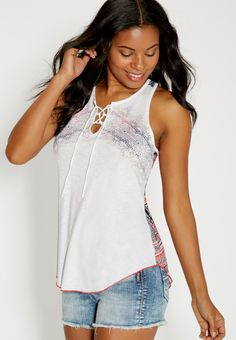 3943d40c3ac lightweight graphic tank with lace up neckline (original price