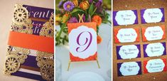 Gold Purple Orange Indian Wedding Invitations and Reception Decor