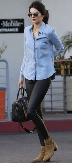 Just a pretty style | Latest fashion trends: Model casual look | Chambray shirt, leather pants and ankle boots