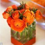 orange flowers: reception table idea