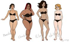 With the previous post in mind, I thought I'd post this! It's a work in progress of four of the CR girls, exploring body types and trying to be more expressive with the posing. The coloring is very flat and somewhat experimental, but this is basically a good comparison.