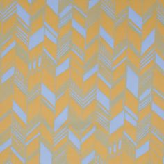Mimosa/Sky Blue Geometric Chevron Cotton Voile Fabric by the Yard   Mood Fabrics