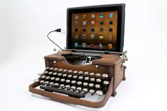 Typewriter upcycled into computer/iPad keyboard. DIY kits available from the Instructibles.