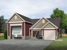 RV Garage with two car garage and unfinished loft above.