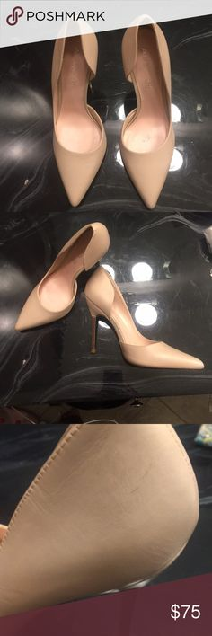 Aldo Nude Metal Heel Pumps Size 7.5 (Eur 38) nude pumps. Leather is in near perfect condition, only one minor scratch (pictured), soles have some markings from the few times that I wore them, and metal on heels have minor markings that have been shown in pictures Aldo Shoes Heels