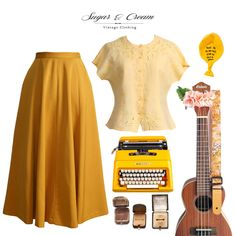 High Waisted Mustard Pleated Skirt and Yellow Cotton Blouse