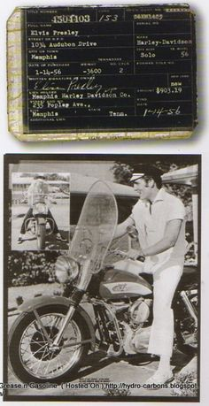 Elvis on Harley and his owner title papers
