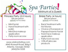 Spa parties for weddings and kids at The Elaine Sterling Institute Fresh Face Makeup, Kids Spa, Spring Spa, Mini Facial, Spa Packages, Spa Deals, Fun House, Chemical Peel, Spa Services